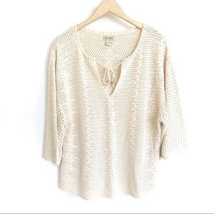 Lucky Brand Tassel Tie-Neck Knit Half Sleeve Top